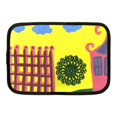 Pink House And Fence Netbook Case (medium)  by snowwhitegirl