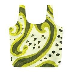 Yellow Swirls Full Print Recycle Bags (l)  by snowwhitegirl