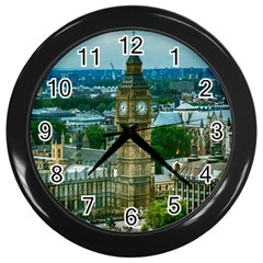 London England City Landmark Wall Clocks (black) by Celenk