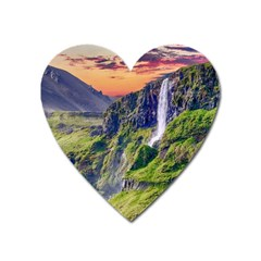Waterfall Landscape Nature Scenic Heart Magnet by Celenk
