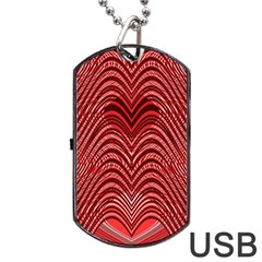 Red Wave Pattern Dog Tag Usb Flash (one Side) by Celenk