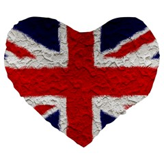 Union Jack Flag National Country Large 19  Premium Heart Shape Cushions by Celenk