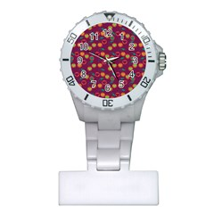 Heart Cherries Magenta Plastic Nurses Watch by snowwhitegirl