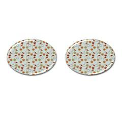 Heart Cherries Grey Cufflinks (oval) by snowwhitegirl