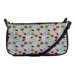Heart Cherries Grey Shoulder Clutch Bags by snowwhitegirl