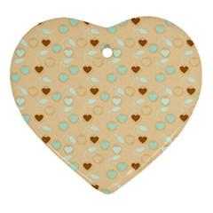Beige Heart Cherries Ornament (heart) by snowwhitegirl