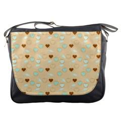 Beige Heart Cherries Messenger Bags by snowwhitegirl