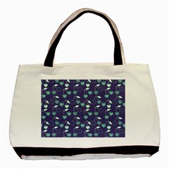 Heart Cherries Blue Basic Tote Bag by snowwhitegirl