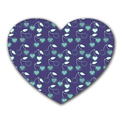 Heart Cherries Blue Heart Mousepads by snowwhitegirl
