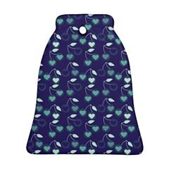 Heart Cherries Blue Ornament (bell) by snowwhitegirl