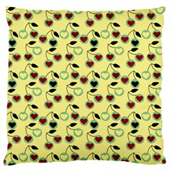 Yellow Heart Cherries Standard Flano Cushion Case (two Sides) by snowwhitegirl