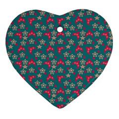 Teal Hats Heart Ornament (two Sides) by snowwhitegirl