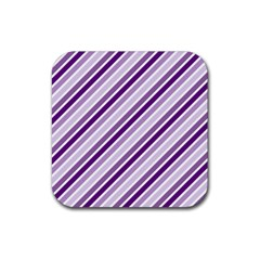 Violet Stripes Rubber Square Coaster (4 Pack)  by snowwhitegirl