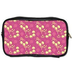 Yellow Pink Cherries Toiletries Bags 2 Side by snowwhitegirl