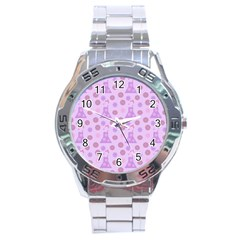 Violet Pink Flower Dress Stainless Steel Analogue Watch by snowwhitegirl