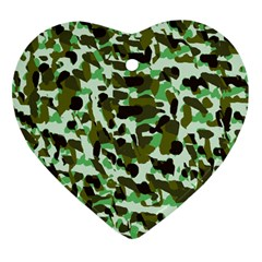 Brownish Green Camo Heart Ornament (two Sides) by snowwhitegirl