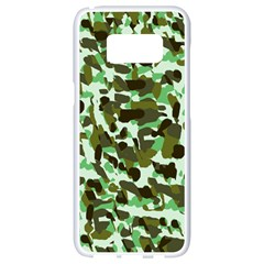 Brownish Green Camo Samsung Galaxy S8 White Seamless Case by snowwhitegirl