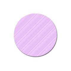 Lilac Diagonal Lines Magnet 3  (round) by snowwhitegirl