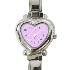 Lilac Diagonal Lines Heart Italian Charm Watch by snowwhitegirl