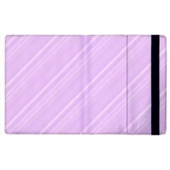 Lilac Diagonal Lines Apple Ipad 2 Flip Case by snowwhitegirl