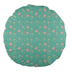 Teal Hearts And Hats Large 18  Premium Round Cushions by snowwhitegirl