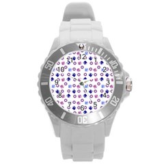 Milk And Donuts Round Plastic Sport Watch (l) by snowwhitegirl