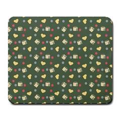 Green Milk Hearts Large Mousepads by snowwhitegirl