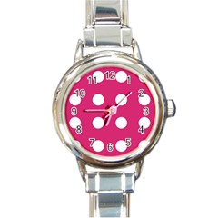 Pink Dot Round Italian Charm Watch by snowwhitegirl
