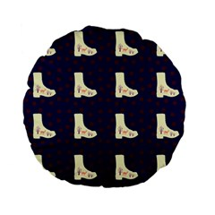 Navy Boots Standard 15  Premium Flano Round Cushions by snowwhitegirl