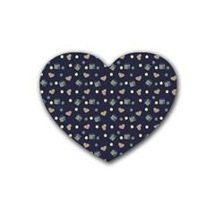 Blue Milk Hearts Rubber Coaster (heart)  by snowwhitegirl