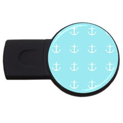 Aqua Anchor Usb Flash Drive Round (2 Gb) by snowwhitegirl