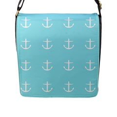Aqua Anchor Flap Messenger Bag (l)  by snowwhitegirl