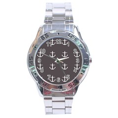 Grey Anchors Stainless Steel Analogue Watch by snowwhitegirl