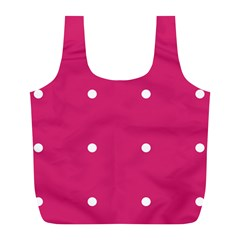 Small Pink Dot Full Print Recycle Bags (l)  by snowwhitegirl