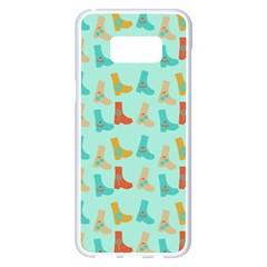 Blue Orange Boots Samsung Galaxy S8 Plus White Seamless Case by snowwhitegirl