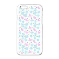 Cats And Flowers Apple Iphone 6/6s White Enamel Case by snowwhitegirl
