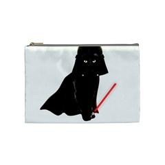 Darth Vader Cat Cosmetic Bag (medium)  by Valentinaart