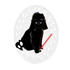 Darth Vader Cat Ornament (oval Filigree) by Valentinaart