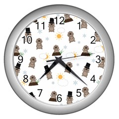 Groundhog Day Pattern Wall Clocks (silver)  by Valentinaart