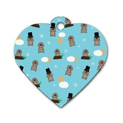 Groundhog Day Pattern Dog Tag Heart (two Sides) by Valentinaart