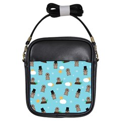 Groundhog Day Pattern Girls Sling Bags by Valentinaart