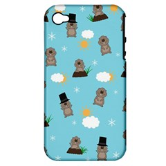 Groundhog Day Pattern Apple Iphone 4/4s Hardshell Case (pc+silicone) by Valentinaart