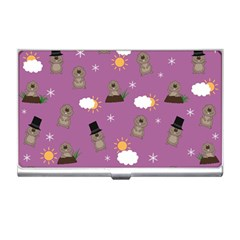 Groundhog Day Pattern Business Card Holders by Valentinaart