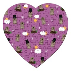Groundhog Day Pattern Jigsaw Puzzle (heart) by Valentinaart