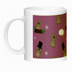 Groundhog Day Pattern Night Luminous Mugs by Valentinaart