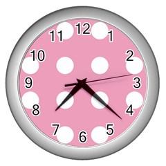 Pale Pink Dot Wall Clocks (silver)  by snowwhitegirl