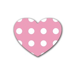 Pale Pink Dot Rubber Coaster (heart)  by snowwhitegirl