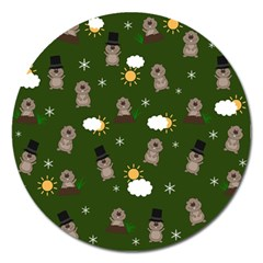 Groundhog Day Pattern Magnet 5  (round) by Valentinaart