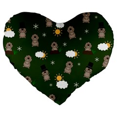 Groundhog Day Pattern Large 19  Premium Heart Shape Cushions by Valentinaart