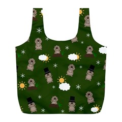 Groundhog Day Pattern Full Print Recycle Bags (l)  by Valentinaart